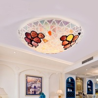 Mediterranean style bedroom children's room round glass warm garden terrace aisle ceiling lamp LO7276