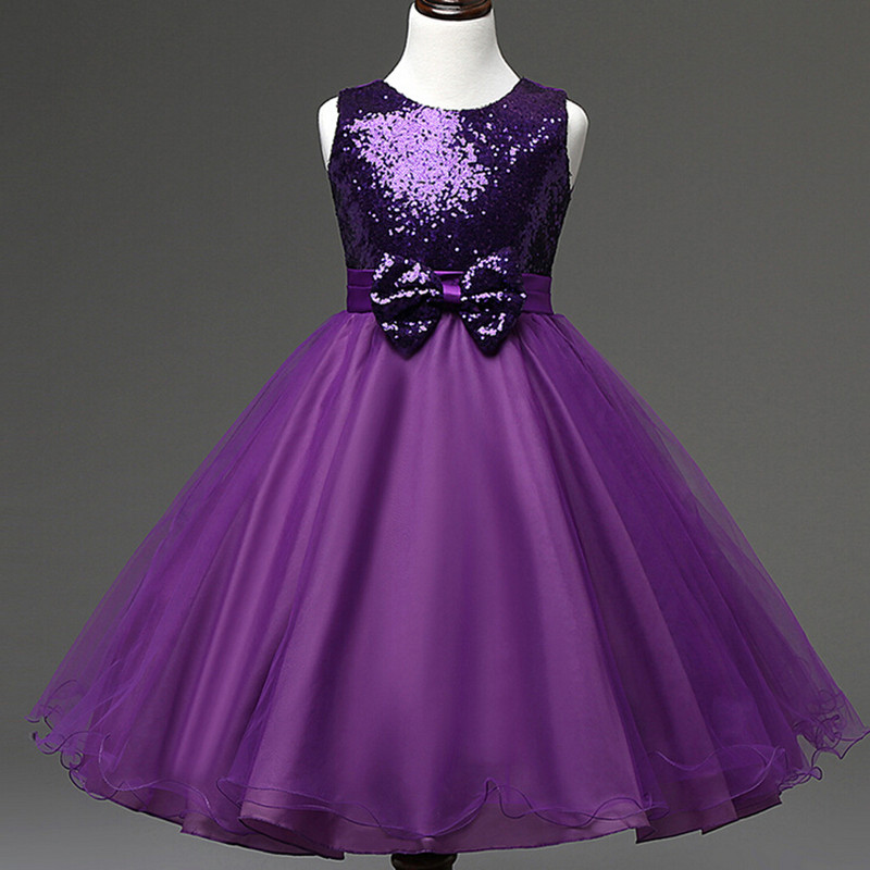 2016 New Arrival Kids Sequin Dress Purple Dresses Girls Teenage ...