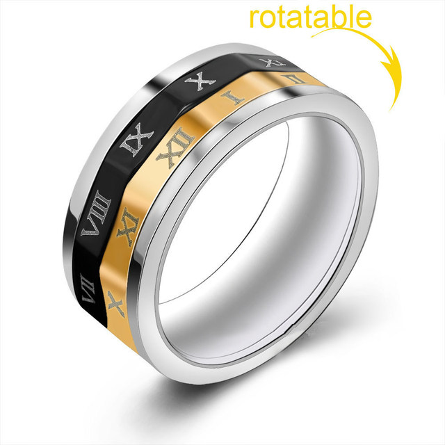 New Fidget Ring Funny Rotate Date Kids Adult Titanium Finger Spinner Toy For Autism