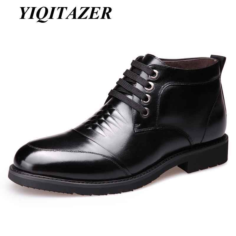 YIQITAZER 2018 Winter Casual Man Shoes Leather Nature Wool Insoles,Winter Warm Work Lace Up Genuine Leather Plush Shoes Man