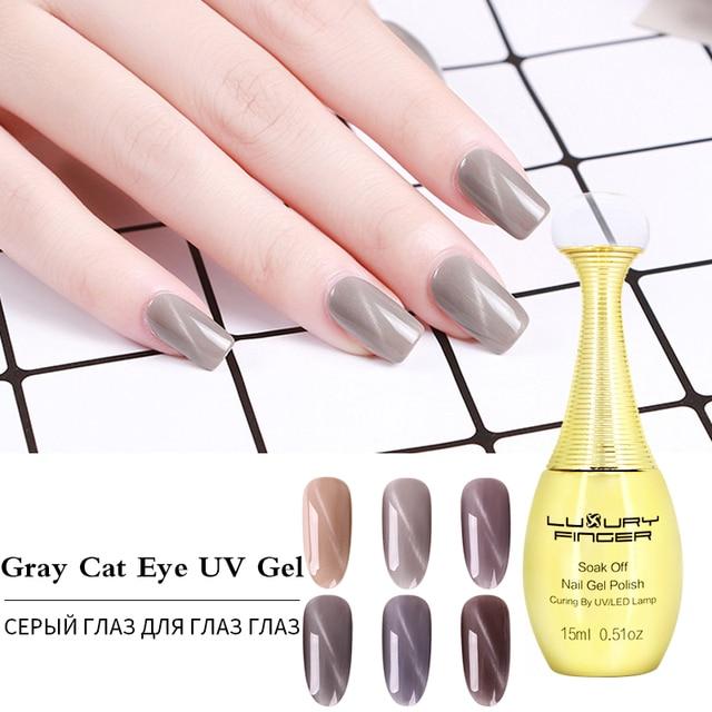 Luxury Finger 1x Grey Cat Eye Effect Soak off UV Gel Nails Polish ...