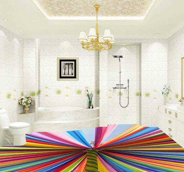 Moderne Und Stilvolle Wohnzimmer Mit Rainbow Farben 3d Boden Pvc  Selbstklebende Tapete Dekoration