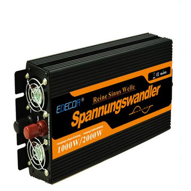 EDECOA pure sine wave power inverter DC 12V to AC 220V 1000w max 2000w Newest high efficientoff solar power inverters