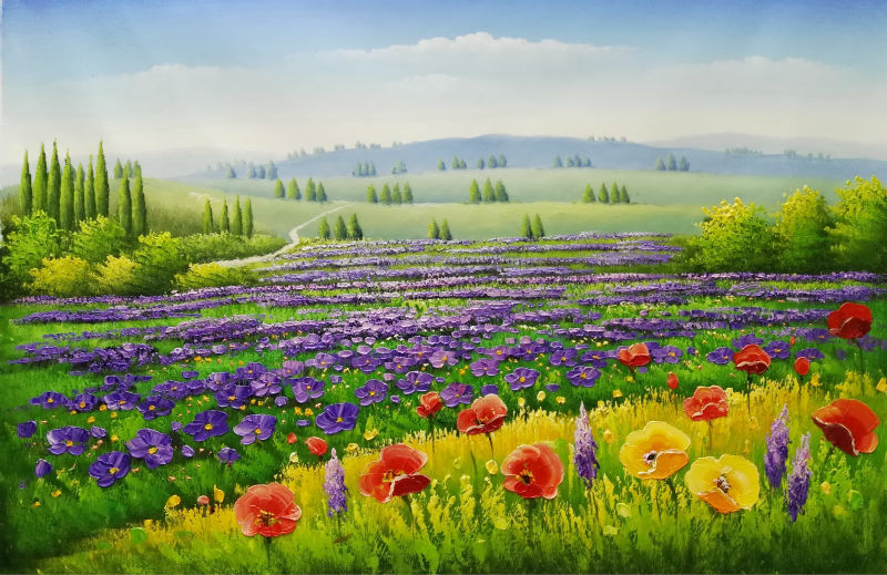 Hand Painted Flower Oil Painting on Canvas Beautiful Wall Painting Flower Lavender Field Scenery Wall Art Picture for Home Decor