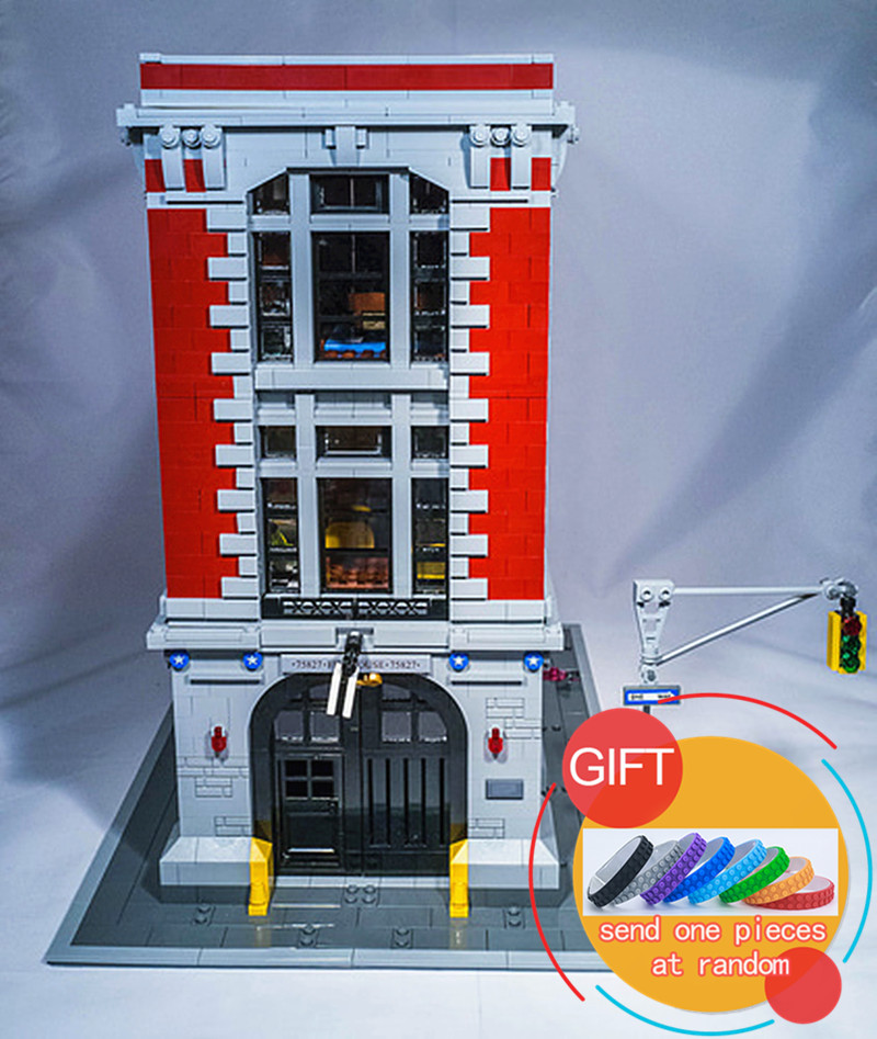 16001 4695Pcs Ghostbusters Firehouse Headquarters set Building Kits Model Blocks For Children Compatible with 75827 Toys lepin 4695pcs lepin 16001 city series firehouse headquarters house model building blocks compatible 75827 architecture toy to children