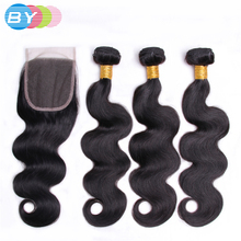 BY Pre-Colored Brazilian Non-remy Body Wave With Closure Human Hair Weave Natural Color 3 Bundles With 4×4 Lace Closure