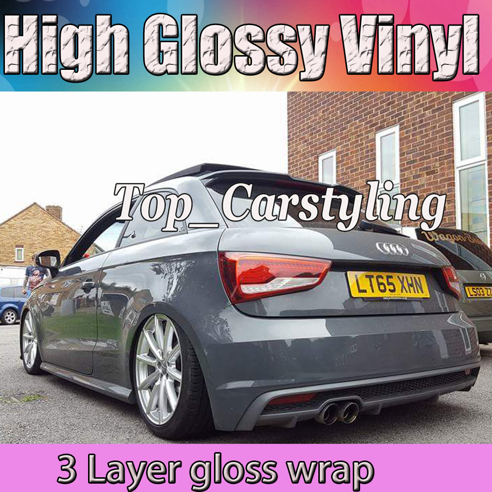 Nardo Gris Brillant Vinyle Wrap Avec 3 couches De Ciment Gris Véhicule D'emballage Avec la Bulle Libre De Voiture Couvrant Taille: 1.52x20 m PROTWRAS