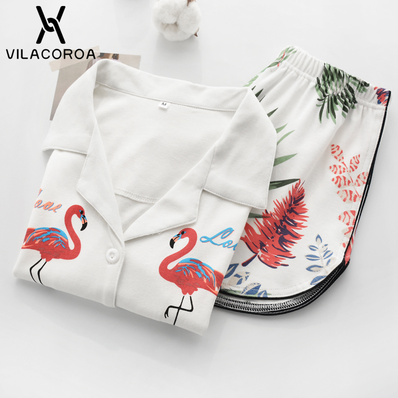 Vilacoroa Revere Collar Allover Flamingo Print Blouse & Shorts   Pajama     Set   White Short Sleeve Cute Sleepwear With Button