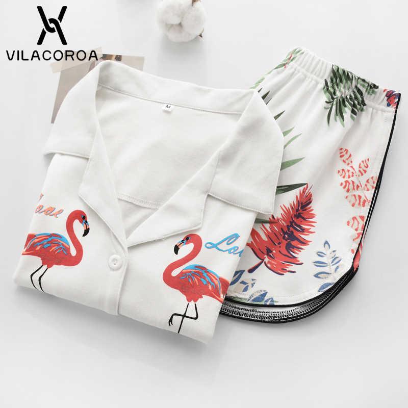 Vilacoroa Реверсивный воротник повторяющийся Фламинго печати блузка и шорты  пижамный комплект белый короткий рукав Милая одежда e0a5d08dfba10