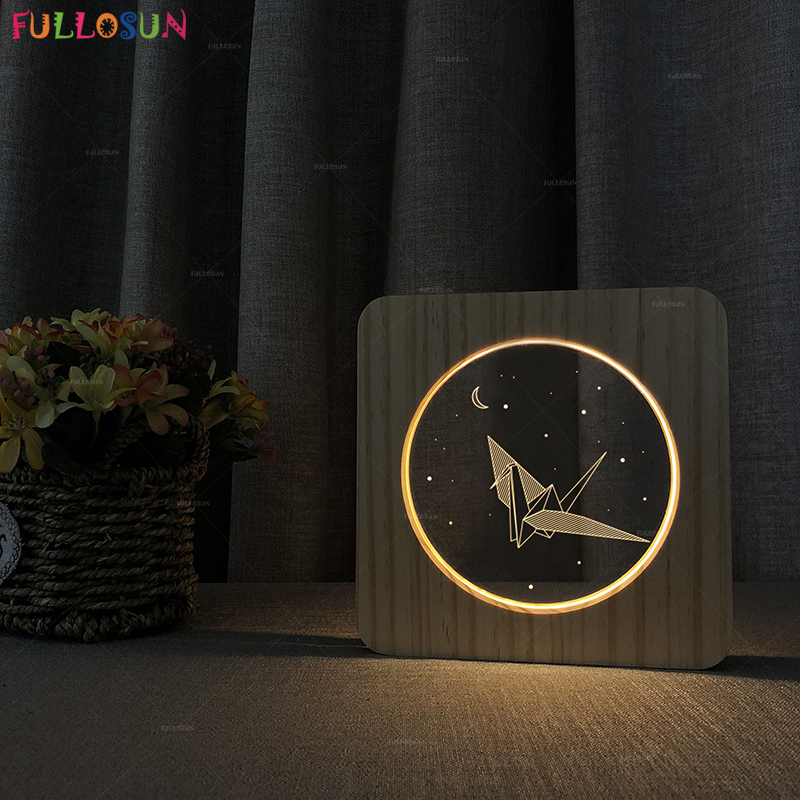 Wooden LED Night Light Paper Crane 3D Illusion Lamp Nordic Style Indoor Decorative Lamp for Birthday Gift in LED Night Lights from Lights Lighting