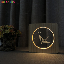 Wooden LED Night Light Paper Crane 3D Illusion Lamp Nordic Style Indoor Decorative for Birthday Gift