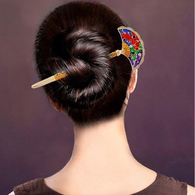 Clical Sector Design Rhinestones Cloisonne Hairpin Chopsticks Hair Sticks For Women S Headwear Accessories