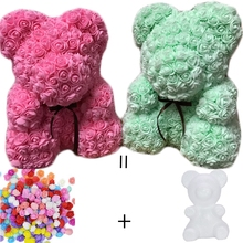 15/20cm PE foam Teddy Bear Mold of roses flowers for Valentines Day Gift Teddy Bear Flower DIY Wedding Party Home Decorations