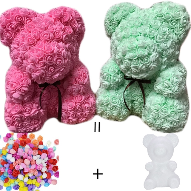 15/20cm PE foam Teddy Bear Mold of roses flowers for Valentines Day Gift Teddy