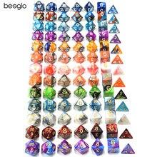 Многогранные DnD смешанные цвета кости 7 шт./компл. для ролевой игры «Подземелья и Драконы настольные игры D4, D6, D8, D10, D%, D12, D20