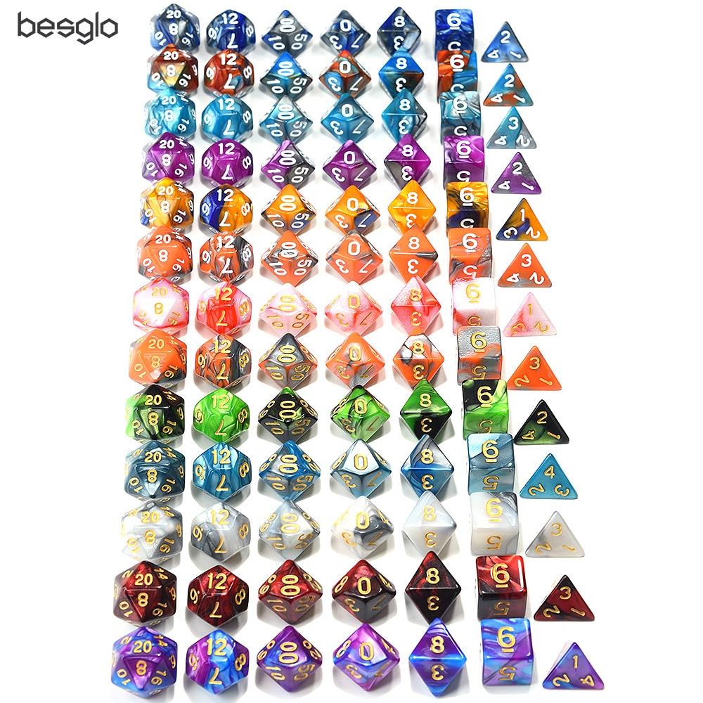 Многогранные DnD разноцветные кости 7 шт./компл. для ролевых подземелий и драконов настольные игры D4, D6, D8, D10, D %, D12, D20
