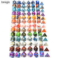 Polyhedral DnD Mixed Color Dice 7pcs/Set for RPG Dungeons and Dragons Board Games D4,D6,D8,D10,D%,D12,D20