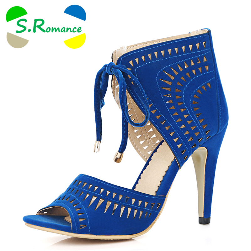 S.Romance Women Sandals Plus Size 32 43 Fashion Summer Lace Up High Heel Pumps Platform Lady Woman Shoes Black Blue Red SS779-in High Heels from Shoes    1