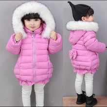 2016 Kids winter coat baby girls padded cotton jacket thick fur collar hooded child in long coat