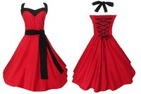 In Stock Free Shipping Red Dress With Belt Retro Vintage Design Swing Dancing Clothing Women Plus