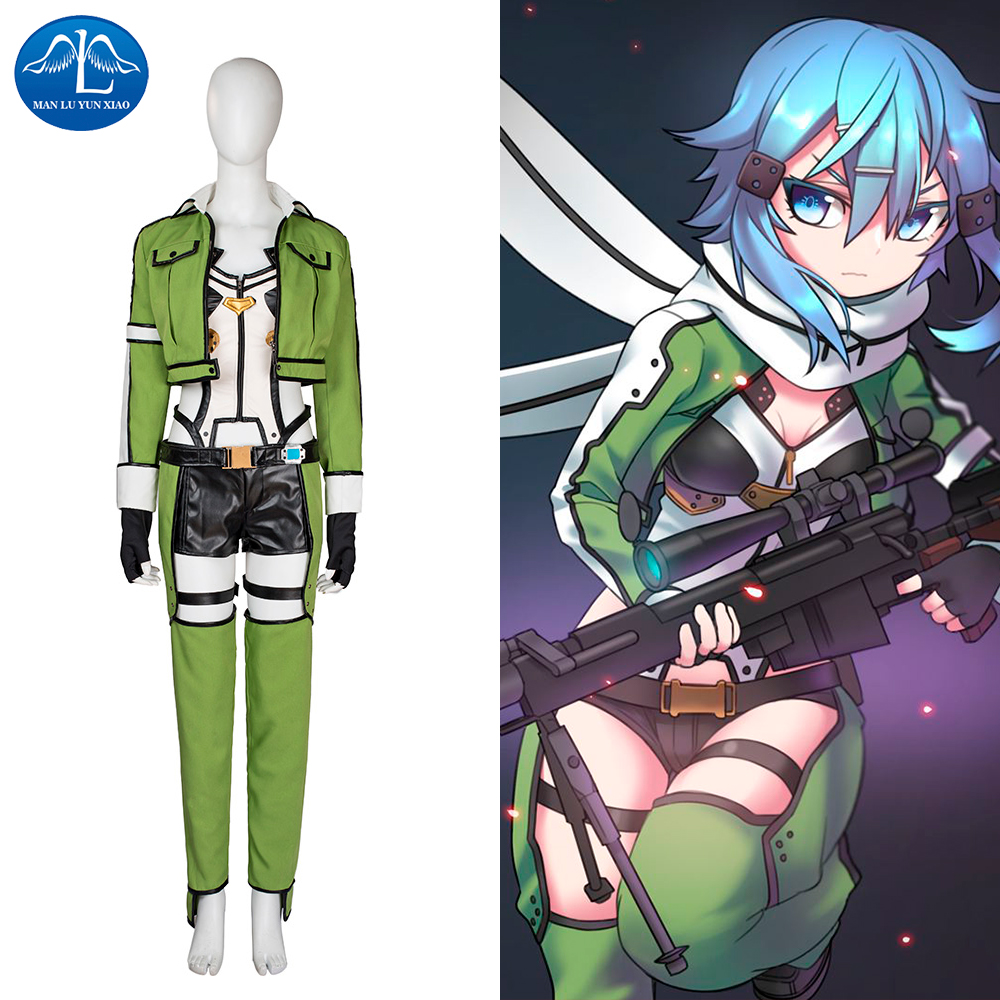 MANLUYUNXIAO New Movie Character Sword Art Online Sinon Cosplay Costume Halloween Carnival Costume For Women Women's Outfit