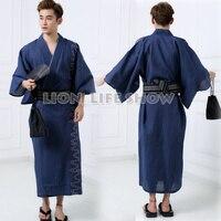 Japanese Men Samurai Yukata Kimono Hot Spring Winter Pajamas Sleepwear Bathrobe Costume without obi