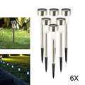 6Pcs Outdoor LED Solar Light Waterproof LED Lawn Light Stainless Steel Garden Lighting Solar Lamp For Yard Landscape Lawn Path
