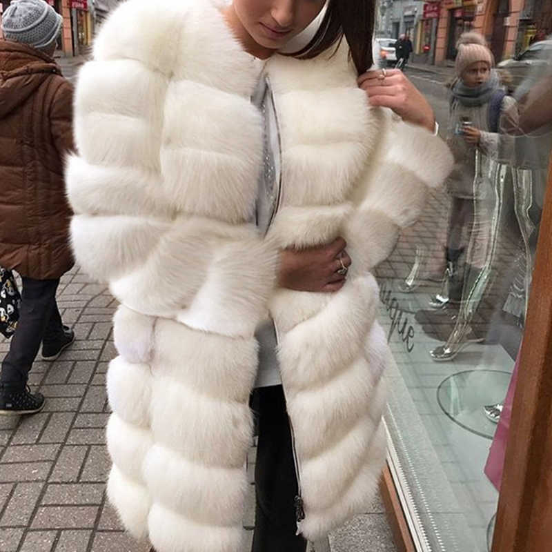 White Thick Warm Fur Long Sleeve O-neck Jacket Winter Fashion Women Faux Fur Furry Coat Outerwear Overcoat Plus Size 3X