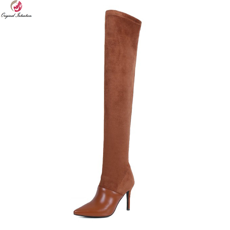 Original Intention Fashion Women Over-the-Knee Boots Stylish Pointed Toe Thin Heels Boots Black Brown Shoes Woman US Size 4-8.5 original intention elegant women over the knee boots fur cow leather pointed toe thin heels boots shoes woman us size 4 8 5