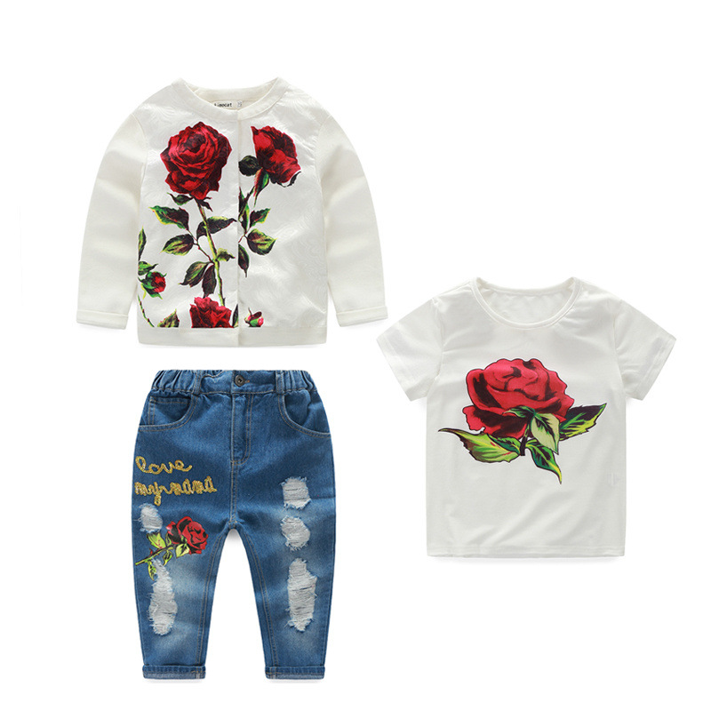 (Coat+ T shirt + Jeans ) 3Pcs/Set 2016 New Print Floral Outfits Sets For Kids Girl Summer Child Girls Clothes Vetement Fille