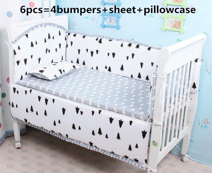 Promotion! 6 PCS literie de bébé lit bébé Set crib Set 100% coton ( pare-chocs + feuille + taie d'oreiller )