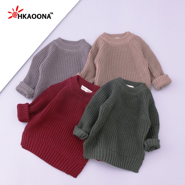 Solid Color Kids Sweater Baby Boys Girls Round Neck Pullovers Warm Knitting Child Sweater Kids Clothes New Year Gift