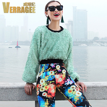 VERRAGEE authentic 2016 spring new European Fashion ladies's spherical neck long-sleeved chiffon lace stitching plus dimension Sweatshirts