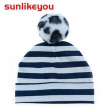 Sunlikeyou 2019 Spring New Unisex Newborn Baby Boy Girl Kids Hat Faux Fur Pompom Cotton Soft Stripe Cute Toddler Beanie Hats Cap