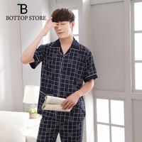 2019 Men's Nightwear Set Male Short Pajamas Man Casual Sleep Wear Men Suits Sleeping Long Pants Short Sleeve Homme Frete Gratis