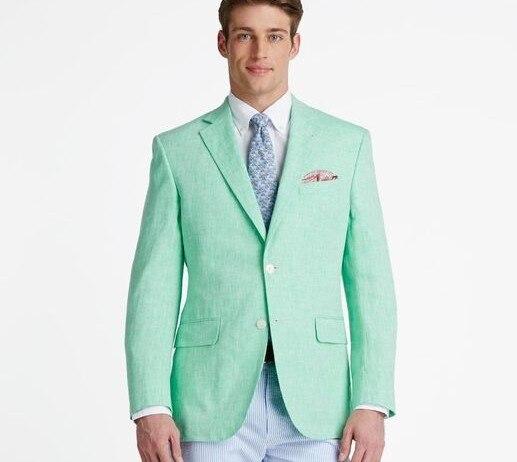 Hecho a medida de menta verde para hombres Casual de playa de verano trajes  de boda para hombres novio mejor hombre fiesta hombre chaqueta chaqueta  única ... 9fb89410627