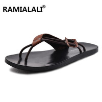 Ramialali Men Leather Slipper Sandals Split Leather Men Beach Shoes Slip On Flip Flops Men Casual Shoes Summer Shoes