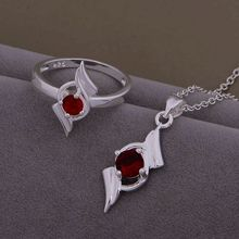 AS468 Hot 925 sterling silver Jewelry Sets Ring 586 + Necklace 968 /buuakmba asuajkba