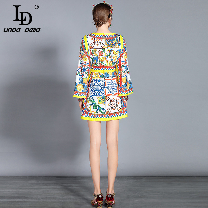 79d0d67c00 LD LINDA DELLA New 2018 Autumn Fashion Runway Dress Women s Long Sleeve  Vintage Gorgeous Floral Printed Elegant Dress vestido-in Dresses from  Women s ...
