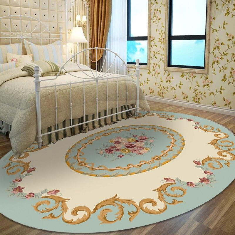 Tapis ovale bleu clair DeMissir imprimé Floral élégant grand tapis pour chambre salon décor tapis tapis de sol tapete para alfombra