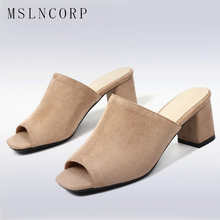 Plus Size 34-44 New women slippers Summer Open toe new style Chunky high heel fashion sandals Elegant Slides ladies Party Shoes стоимость