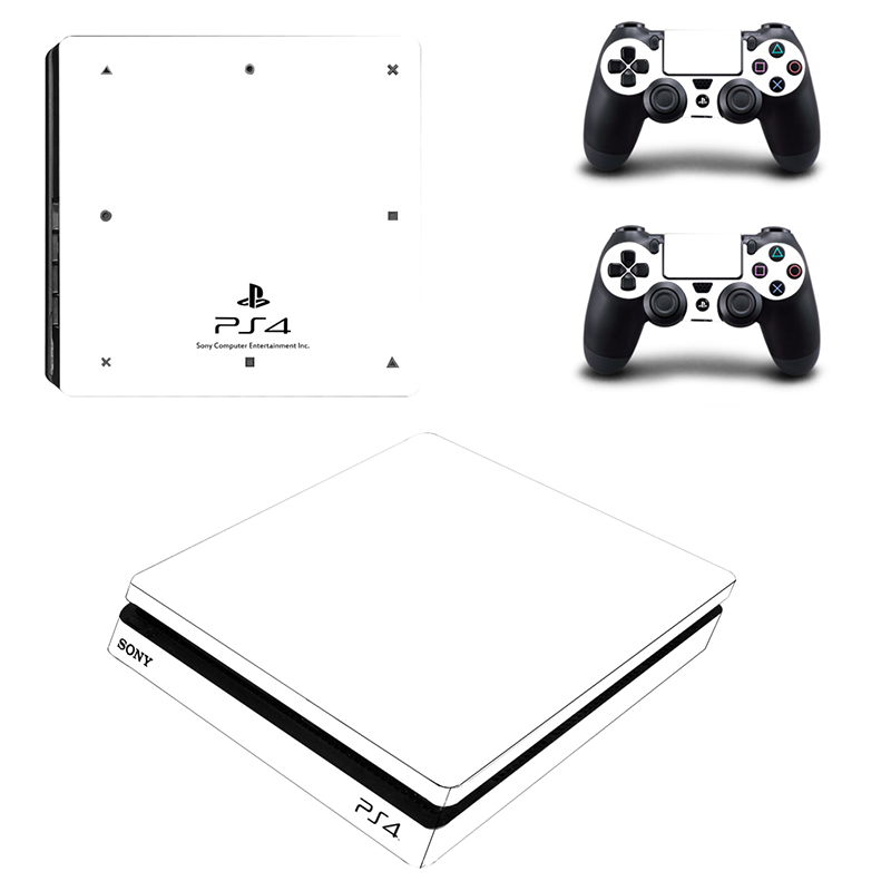 Full White Cover Skin Sticker For Playstation 4 Slim Console With 2 Controller Stickers Video Game Accessories