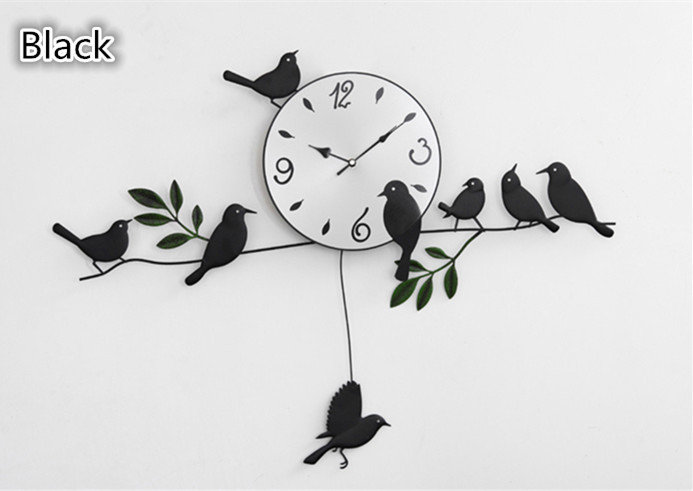 Rustic Movable Bird Wall Clock Home Decoration 72*55CM-in