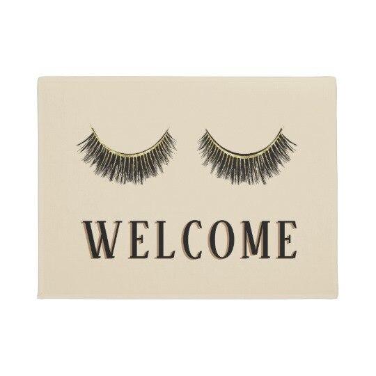 Stylish Eyelashes Welcome Super Absorbent Anti Slip Mat Funny Doormat Indoor Outdoor Decor Rug Doormat Inch