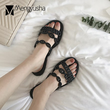 Brand luxury designer chains flats beach sandals women street fashion three band chain belt flip flops 2019 hot popular slides(China)