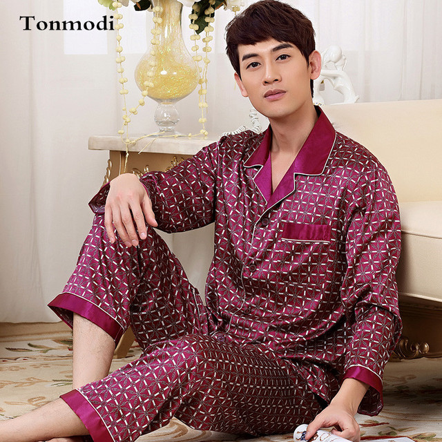 2017 New Luxurious Mens Silk Pajama Set Long Sleeve Satin Sleepwear Pyjamas Men Plus Size 4XL