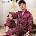 2017 Nuevo Conjunto De Pijama de Seda ropa de Dormir Pijamas de Manga Larga de Satén de Lujo Para Hombre de Los Hombres Más El Tamaño 4XL