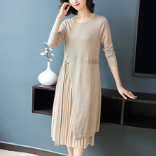 Solid chiffon patchwork elastic knit loose a line dress 2018 new o-neck full sleeve women autumn casual