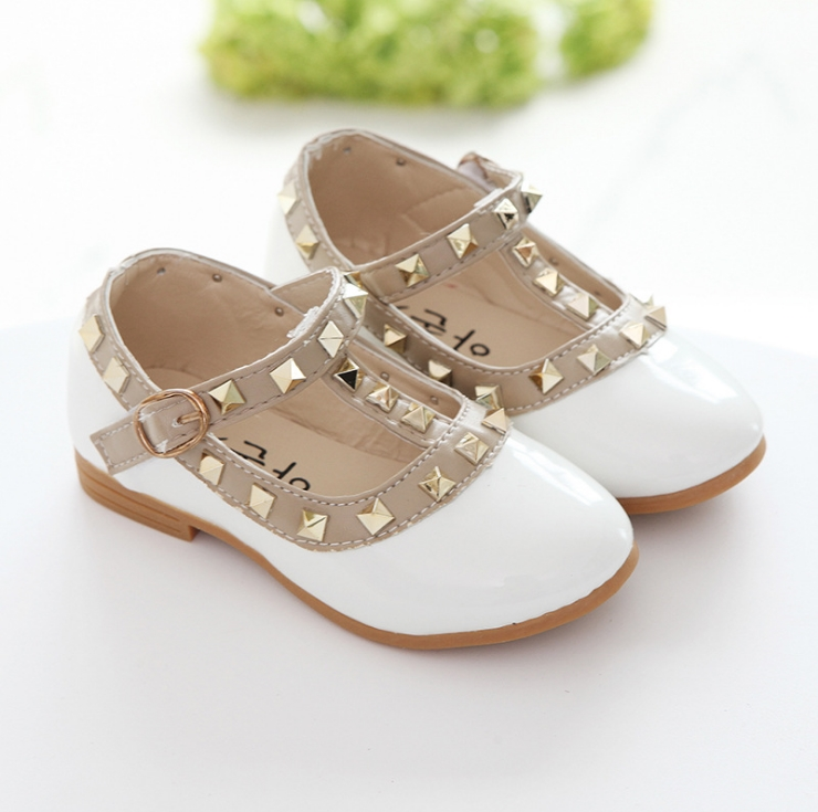 New Fashion Children Lady Girls Princess Shoes PU Leather toddler baby Low-heel Kids mary jean Shoes Rivets Sneakers 1