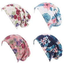 Indian Muslim Stretching Printing Turban Bandanas Headwear Chemo Hat Hood Hair